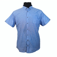 D555 10105 Linen Cotton Mix Chambray Weave Fashion Shirt-shop-by-brands-Beggs Big Mens Clothing - Big and Tall Men's fashionable clothing and shoes
