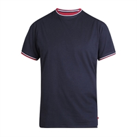 D555 Navy Contrast Trim Collar Tee Shirt-shop-by-brands-Beggs Big Mens Clothing - Big and Tall Men's fashionable clothing and shoes